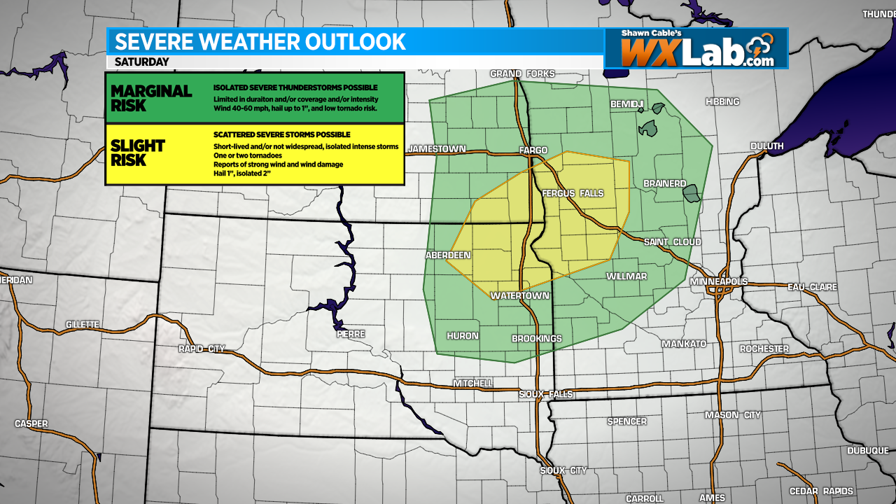 Strong Storms Possible in SD, MN, ND Saturday
